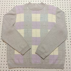 Alfred Dinner Gray and Purple Sweater, Size Large